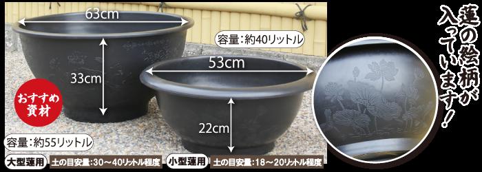 ハス絵柄入りプラ製鉢